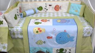 Gold Fish Aquarium Baby Crib Bedding Set 13 Pcs ; Baby Bedding Fabric