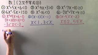 【高校数学】  数Ⅰ-62  2次不等式①