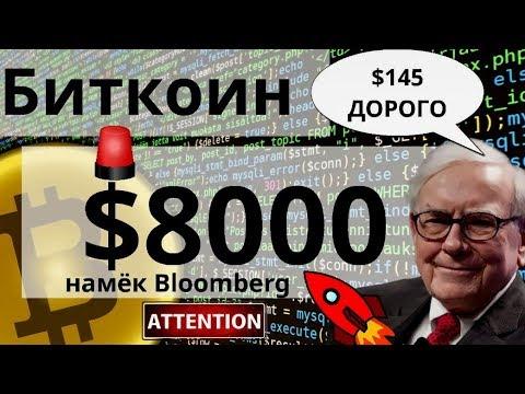 Биткоин Вот вот $8000 намёк Bloomberg. 1000 стухших ETF. Уоррен Баффет и Tech Data