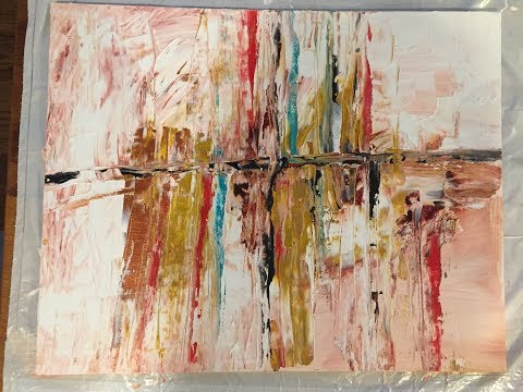 Abstract Acrylic Painting with brush and Palette Knife 001
