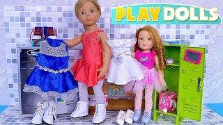 Gotz Doll & Baby Sister Ice Skating School Class!