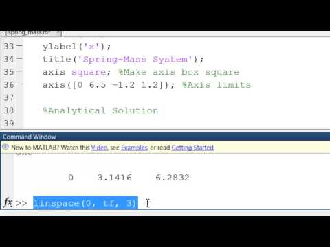 Spring-Mass in MATLAB: Analytical Solution #1