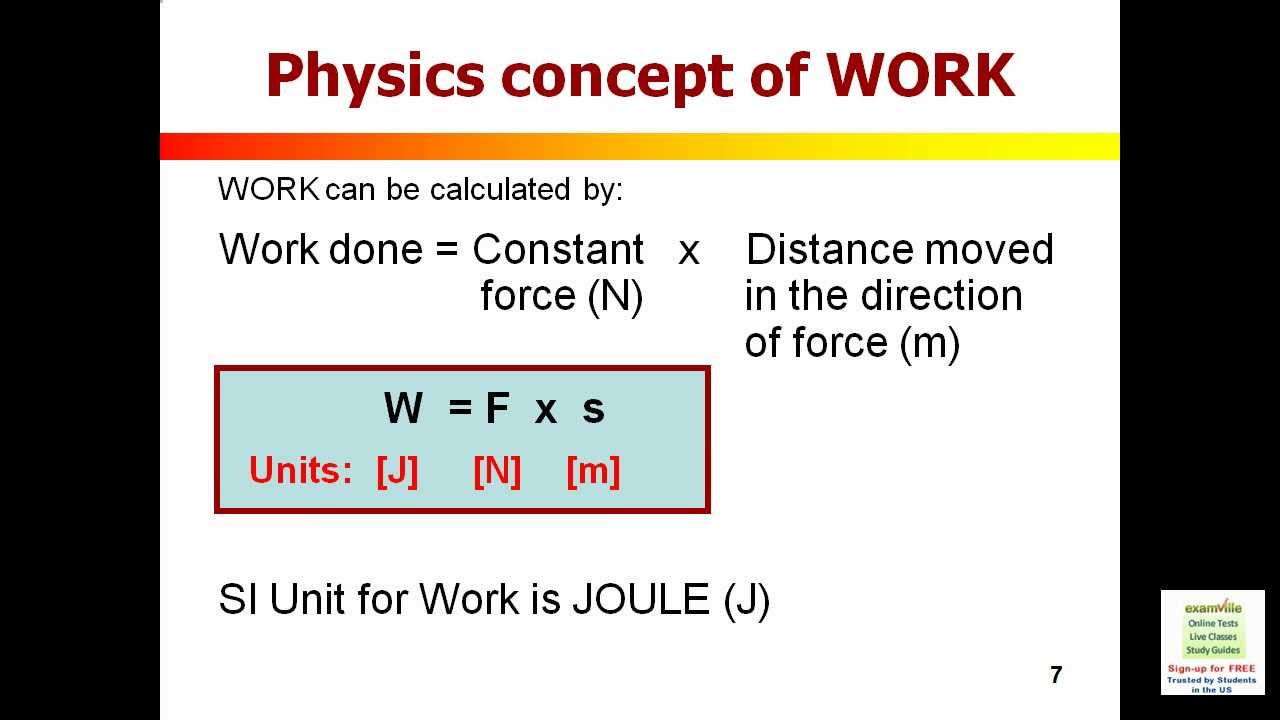 Work Energy and Power (Physics Review) - Examville.com - YouTube
