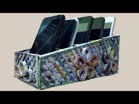 How To Make A Multiple Mobile Holder/Organizer With Newspaper And Cardboard Unique 2