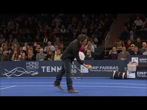 Ben Stiller OWNED by a young girl in tennis BNP Paribas Showdown