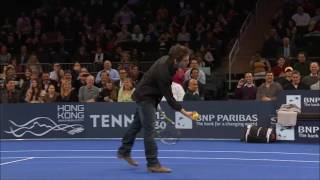 Ben Stiller OWNED by a young girl in tennis (BNP Paribas Showdown 2013)