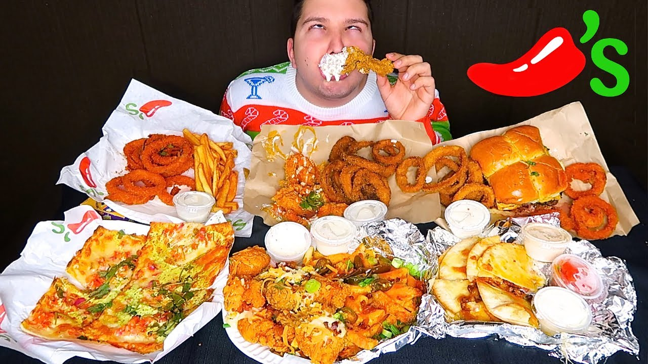 Chili Cheese Fries Buffalo Wild Wings Loaded Onion Rings Spicy Cheesy Bread Chilis Mukbang