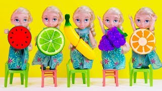 Learn Fruits with Five Little Babies Jumping On The Bed Educational Videos Good Song for dolls