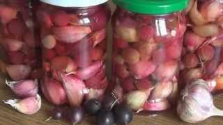Маринованный чеснок с крыжовником или виноградом