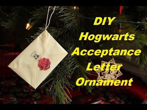 DIY Hogwarts Acceptance Letter Ornament