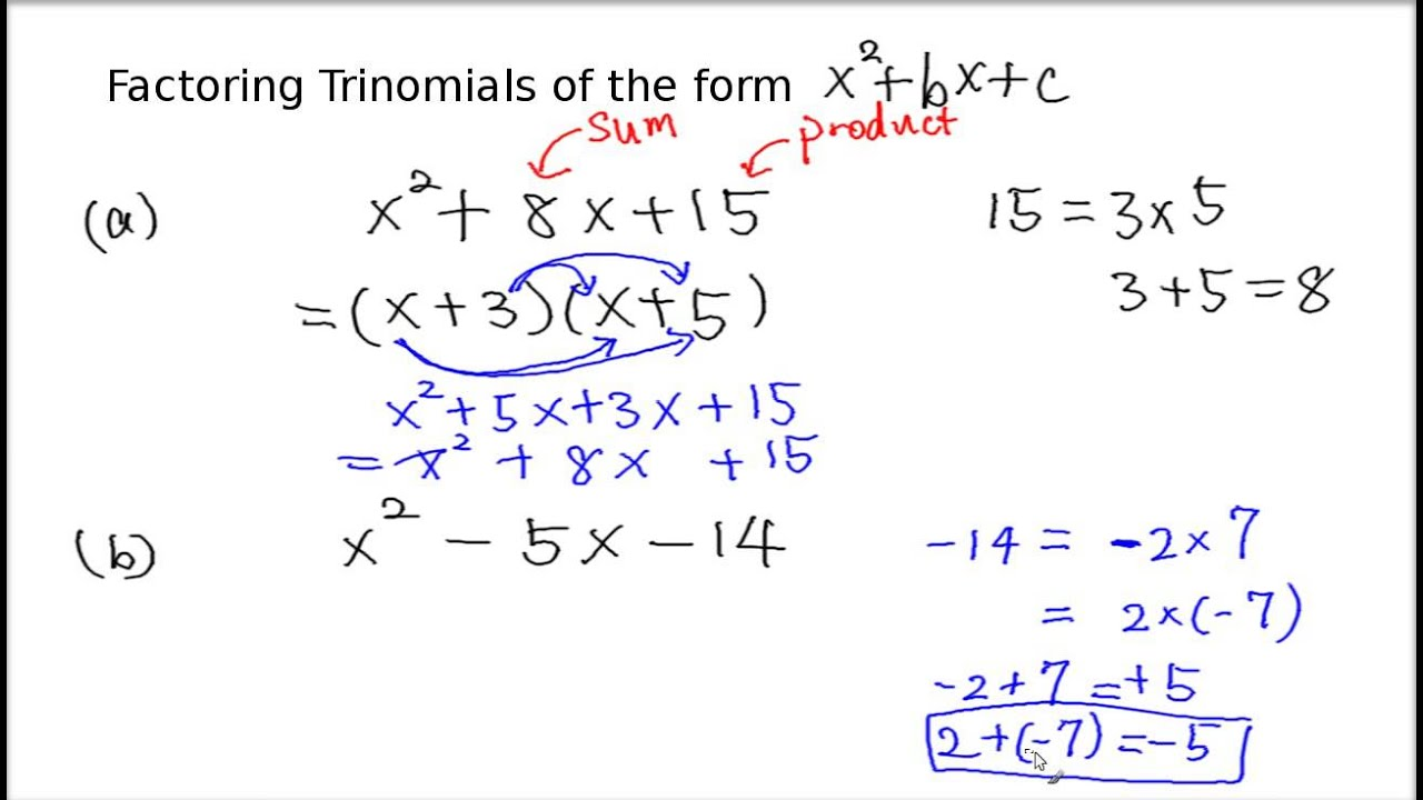 Factoring Trinomials Of The Form X 2 Bx C