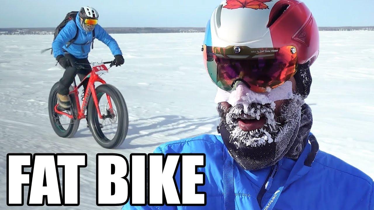 FAT BIKE : Ils traversent un lac gelé au Canada en plein hiver !