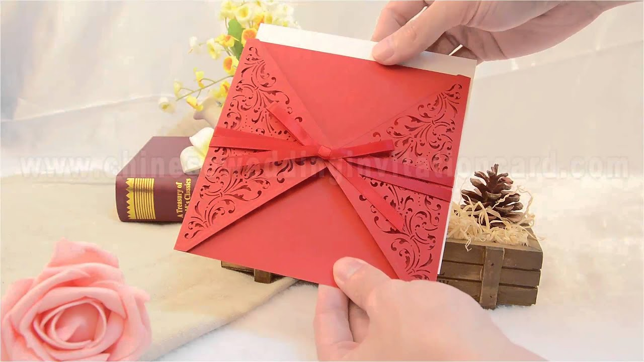 pierced traditional chinese style wedding invitation card tied by ...