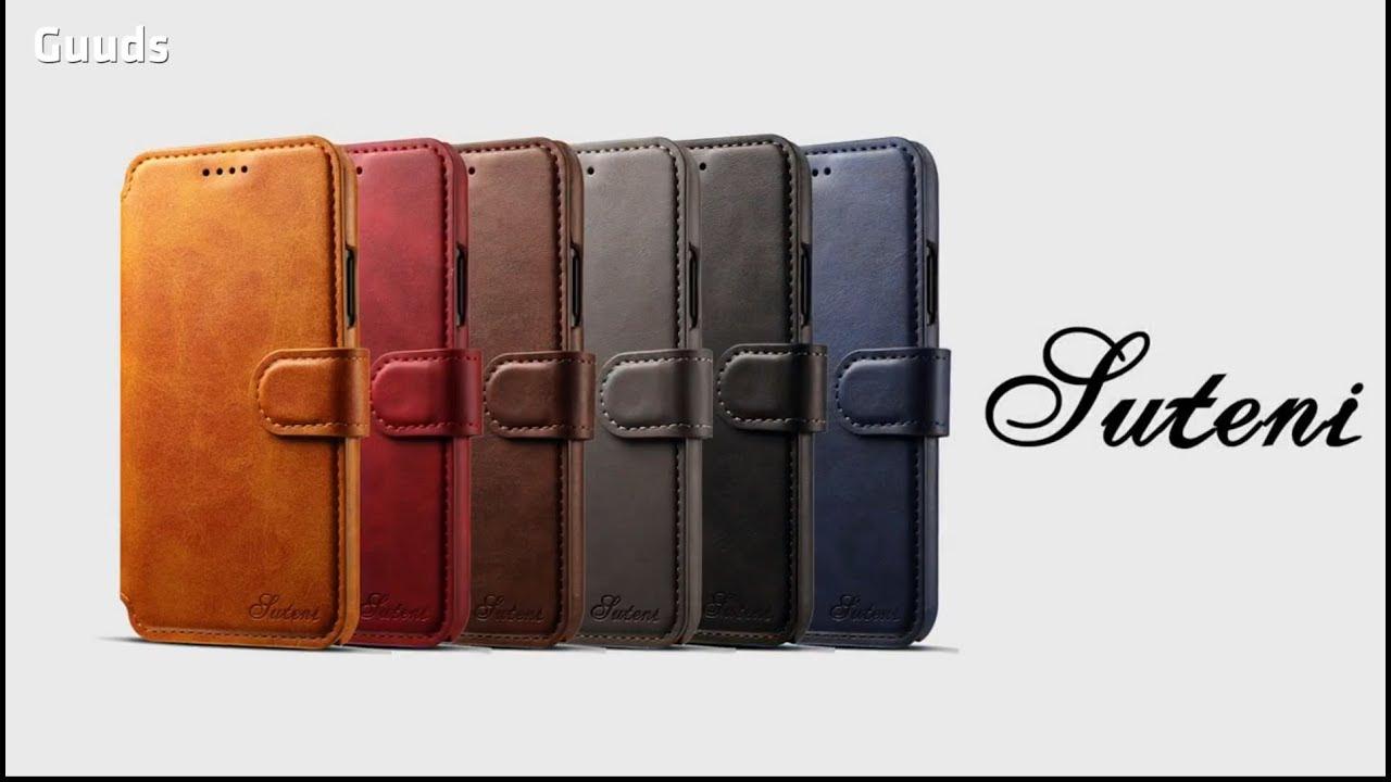 huge selection of 6d7cd 7537c Suteni Calf Stripe Leather Wallet Flip Phone Case at guuds.com