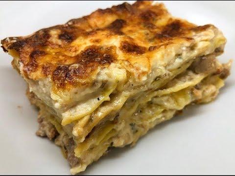Ricetta Lasagne Funghi E Salsiccia.Lasagna Con Funghi Porcini Salsiccia E Idea Per Natale Youtube