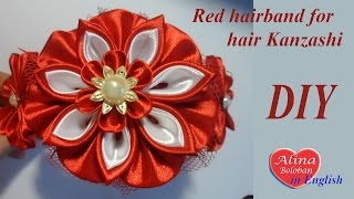 Red Hairband For Hair Kanzashi. Tutorial Kanzashi