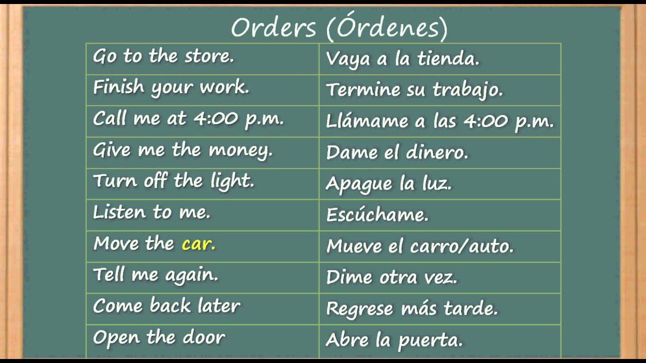 Como aprender ingl s como ordenar o dar instrucciones en for Tiempo aprender ingles