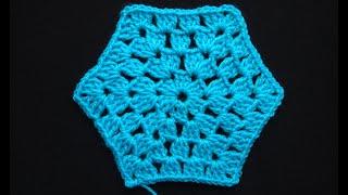 Вязание шестиугольного мотива крючком видео Урок 44   Hexagonal crochet motif crochet video