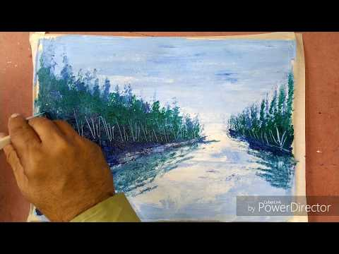 Easy abstract landscape painting | blue and green |for beginners | demo in acrylic |landscape demo