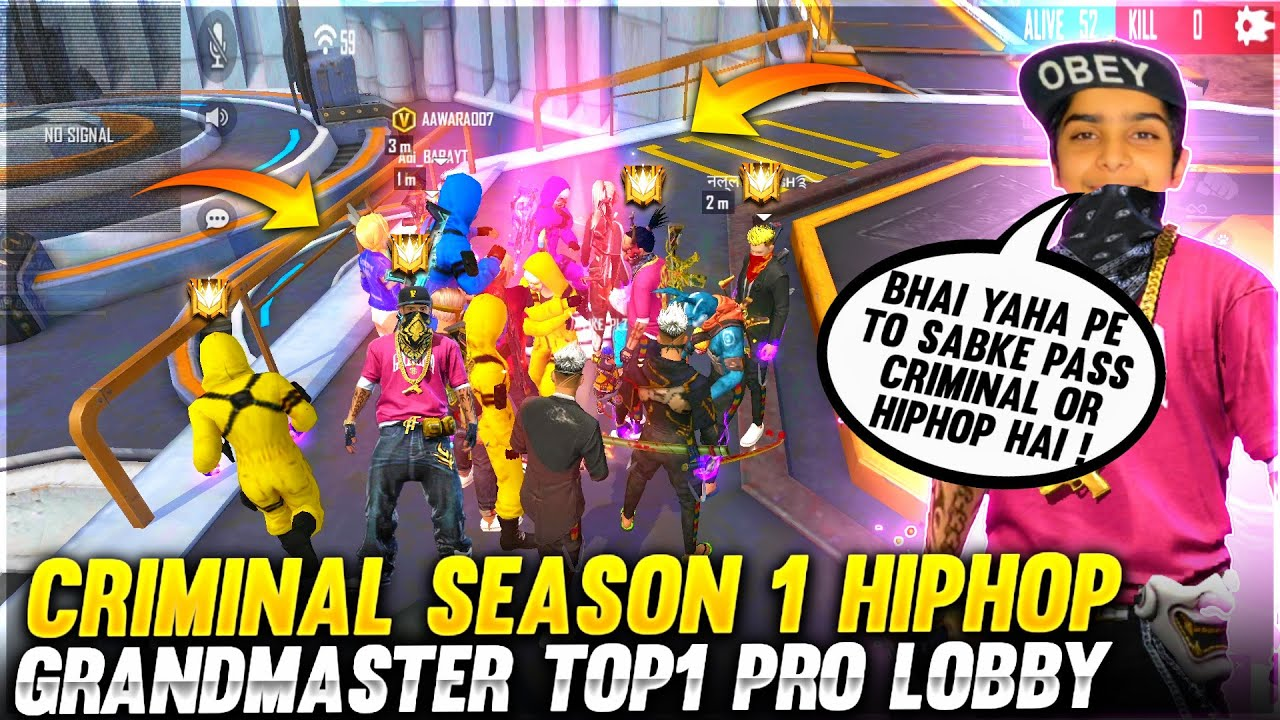 6 Criminal 2 HipHop Bundle Grandmaster Top 1 Pro Lobby 🤯❤️ - Who Will Win 😂 ? - Garena Free Fire