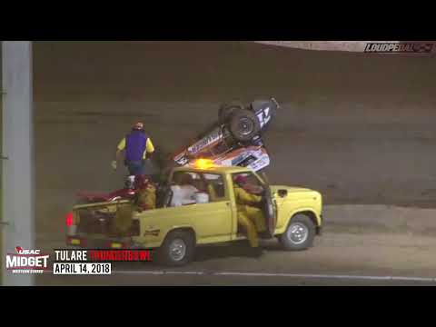 USAC Western Midget Highlights | Tulare Thunderbowl Raceway 4.14.18