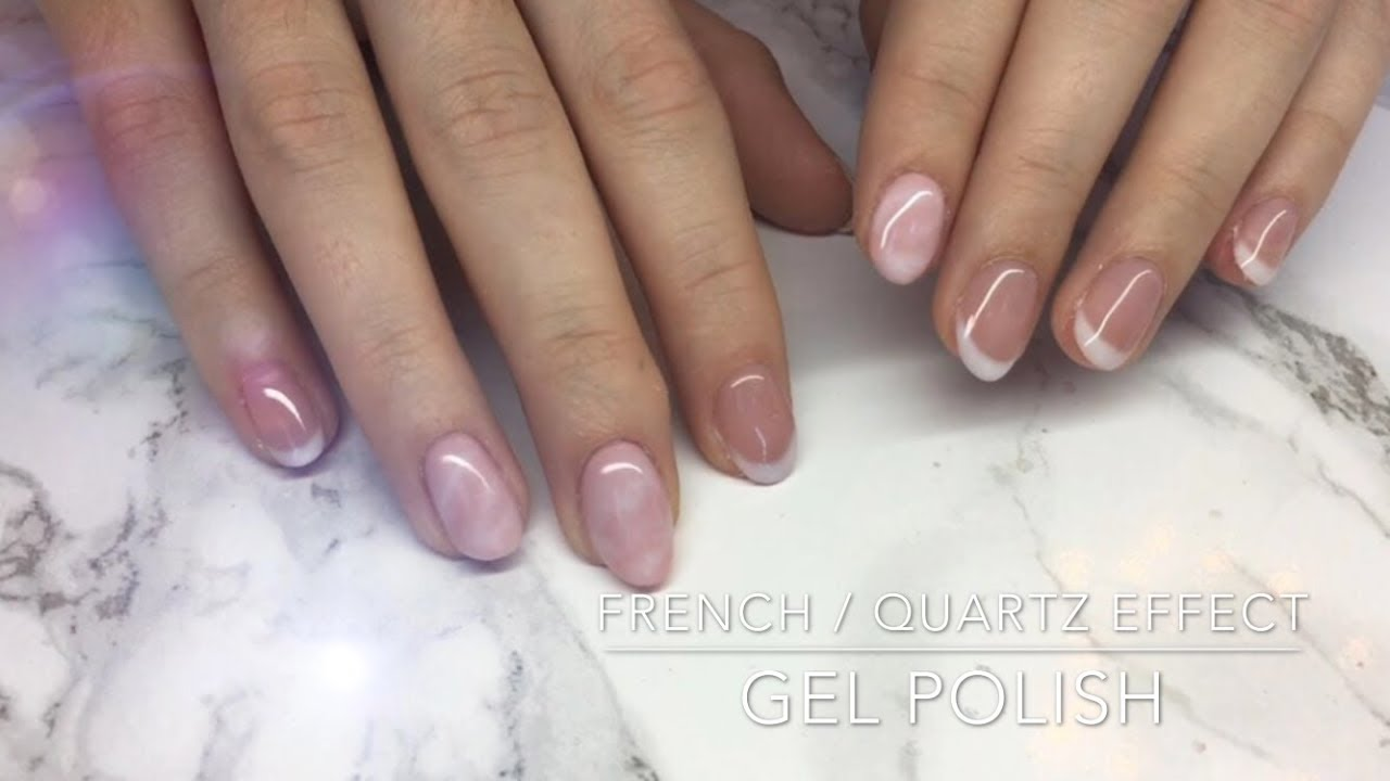 Natural French Manicure Pink Quartz Effect With Gel Polish