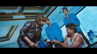 Malashree Uses Komal to Spy on Villain | Veera Kannada Movie Super Scene