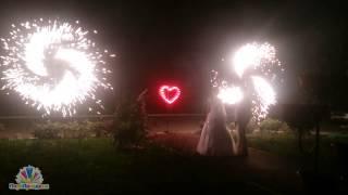 Салют на свадьбу дорожка, сердце, вертушки, салют