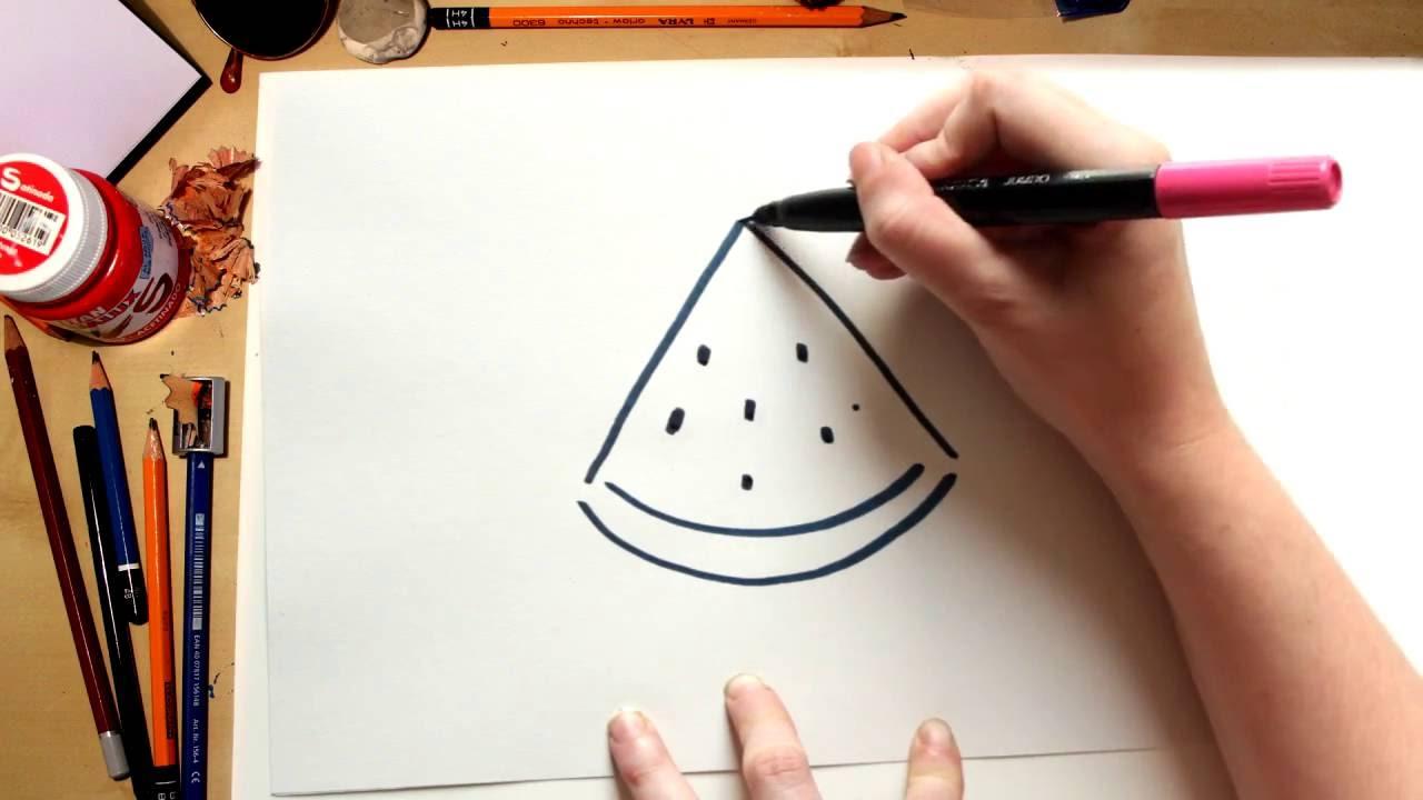 Como Dibujar Una Sandia Dibujos De Frutas Para Ninos Youtube