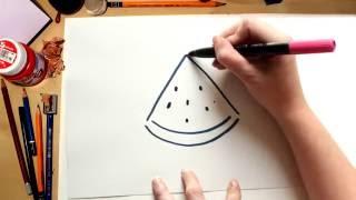 Como dibujar una Sandía - dibujos de frutas para niños