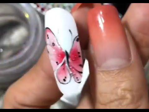 Vẽ bươm bướm ứng dụng gel loang . Fb Trúc An nails 0933582257