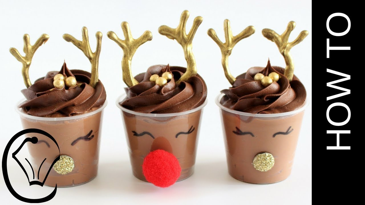 Eggless Rudolph Christmas Chocolate Mousse Dessert Cups