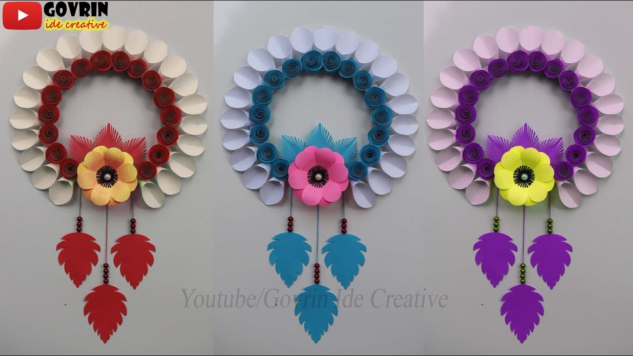 diy simple home decor wall decoration hanging flower paper craft ideas