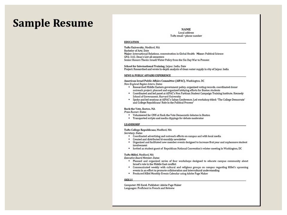 Resumes Tufts Student Services
