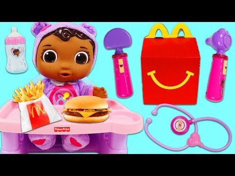 Feeding Doc McStuffins Baby Cece a McDonald's Happy Meal!!