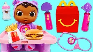 Feeding Doc McStuffins Baby Cece a McDonald's Happy Meal!!