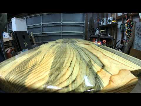 Epoxy bar top made of blue pine - YouTube