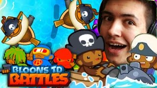 BTD Battles | DEFENDING FROM THE SEAS! | Bloons Tower Defence Water Tactic!