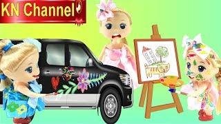 Đồ chơi  trẻ em BÚP BÊ KN Channel  VẼ QUÁI VẬT 3 ĐẦU VÀ VẼ BẬY LÊN XE HƠI