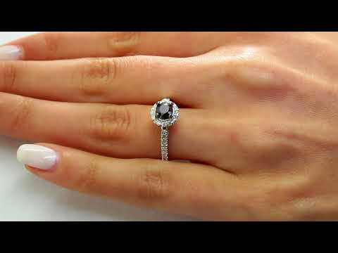 1 1/20 CTW Round Black and White Diamond Halo Engagement Ring in 10K White Gold (MDR140057)