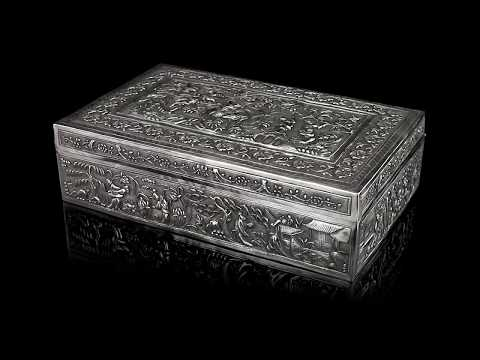 ANTIQUE 19thC CHINESE SOLID SILVER DECORATIVE BOX, BAO CHENG c.1890