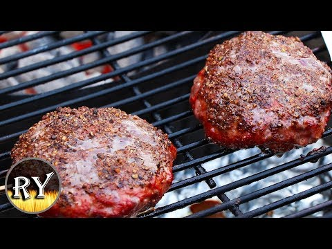 Smoked Pepper Crusted Bison Burger On The Weber Kettle