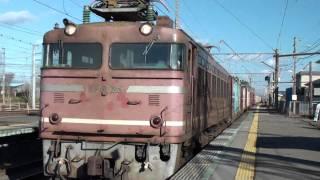 激しすぎるブレーキ! 貨物列車 EF81-25 奥羽本線 東能代駅停車 thumbnail