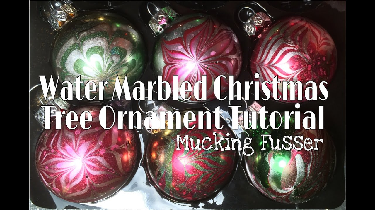 Water marbled christmas tree ornament tutorial youtube