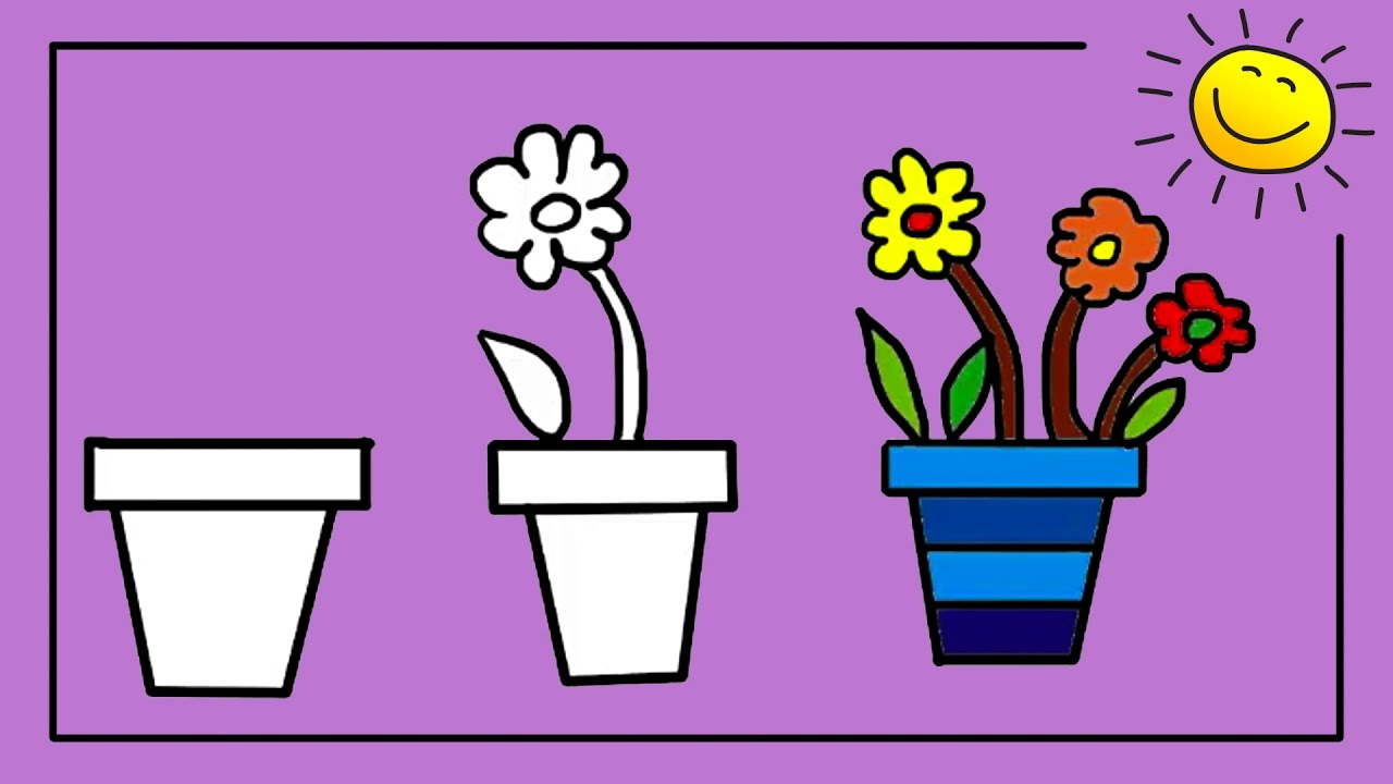 coloring for kids how to draw a flower pot in easy steps silly