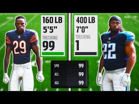 "CAN A 5'5"" RB WITH 99 TRUCKING BREAK MORE TACKLES THAN A 7'0"" RB WITH 0? (Madden 18 Experiment)"
