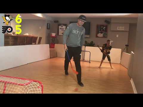 Kids Hockey- Knee Hockey NHL predictor Pittsburgh Penguins vs Philadelphia Flyers father vs son