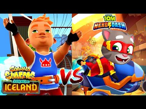 Subway Surfers ICELAND VS Talking Tom Hero Dash: Серфер Bjarki VS Супер Том!