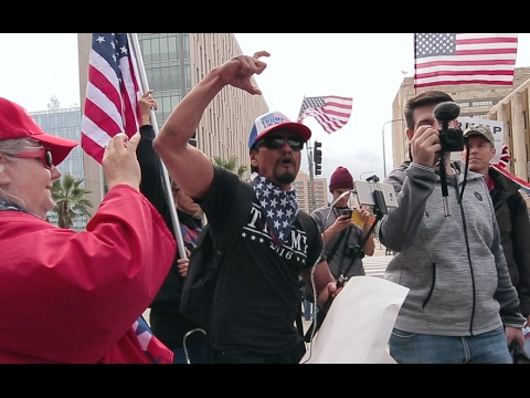 """Hispanic Trump Supporter Protests at Immigration March and Cudahy """"HOMIES FOR TRUMP"""""""