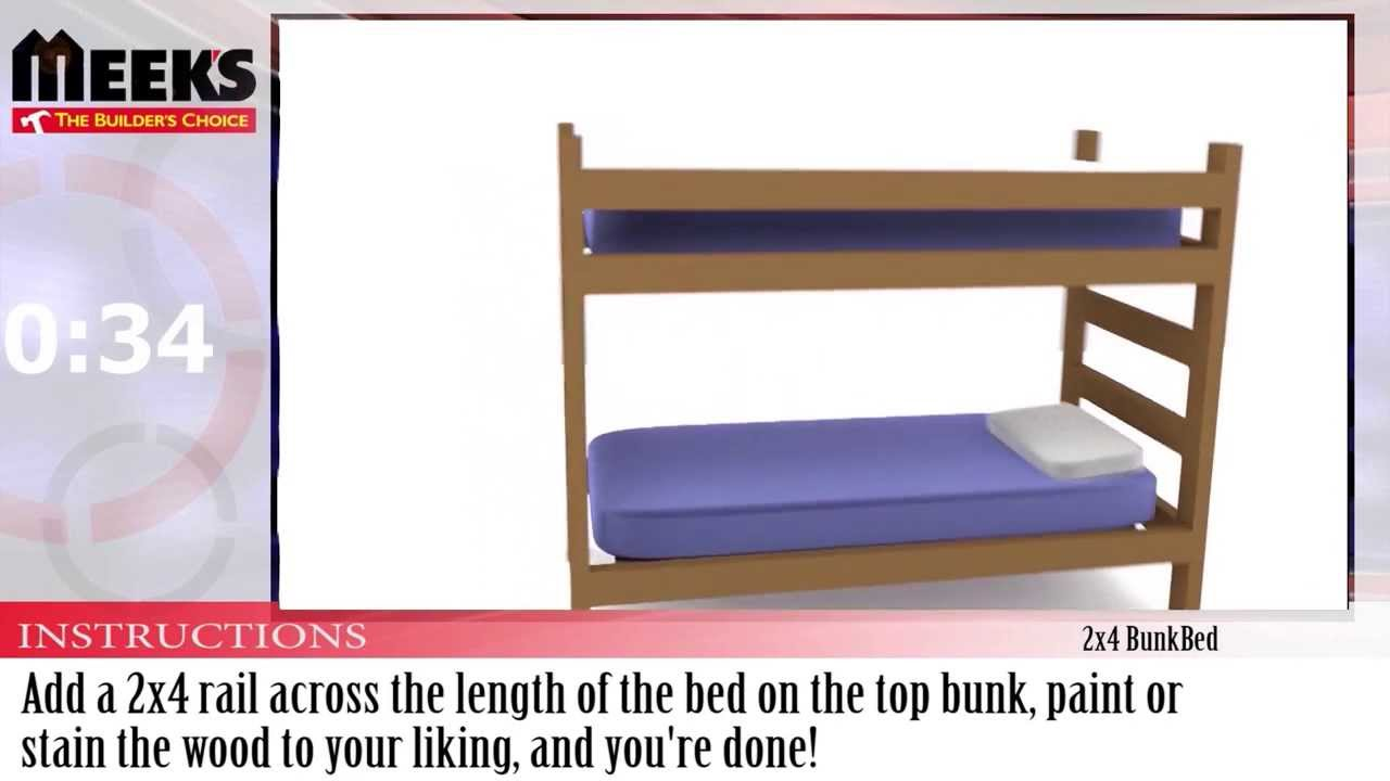 Meek\'s In Under A Minute: 2x4 BunkBed - YouTube